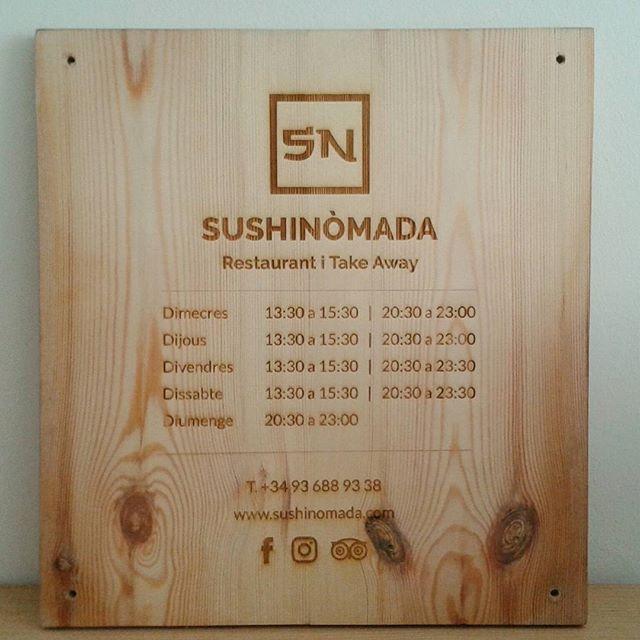 Rètol fusta horari Sushinomada